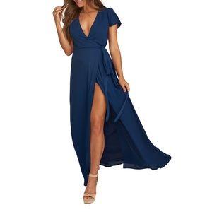 NWOT Show Me Your Mumu Noelle Wrap Navy Maxi Dress